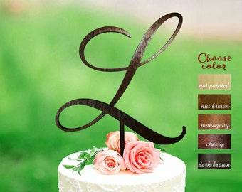 l cake topper, initial cake topper, wedding cake toppers, single cake topper, rustic wedding cake topper, l cake topper, monogram, CT#211