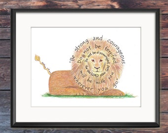 Bible Verse art print, scripture design, hand lettered typography, wall art decor, Lion