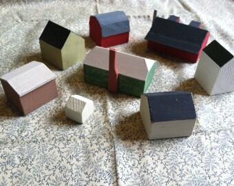 Hand-made Wooden Village Set.