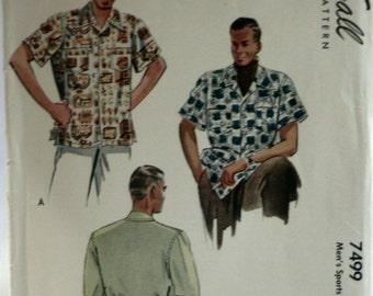 Mcall's 7499 - Men's Dress Shirt Sewing Pattern - Sport Shirt Sewing Pattern - Vintage 1940's - Size Medium 15-15 1/2