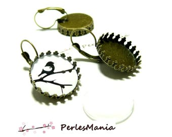 20 pieces: 10 blank SLEEPER claw A SERTIR 12 mm BRONZE and 10 cabochons earrings