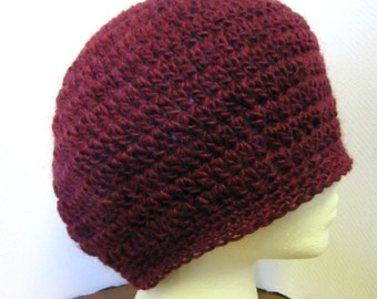 Deep Purple Slouchy Hat Maroon Llama Llama Beret Cap Woolen Womans Oversize Dreadlocks Handmade Crochet Knit Bohemian Big Hair Mans Womans