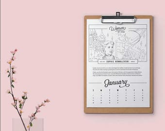 Women in Stem Coloring Calendar, Coloring Book, Black and White Calendar, 2018 Calendar, Gifts for Her, Desk Calendars, Clipboard Calendar