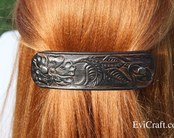 Large black colour Leather french hair barrette, clip, fashion, accessory embossed flower leaves, brown Ponytail Holder