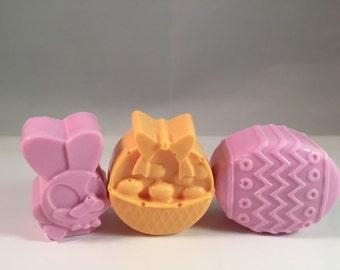 Easter Soap Set / Easter Bunny Soap / Easter Basket Soap / Easter Egg Soap / 3 oz Total / Goat Milk Soap  / Party Favor / Set of 3