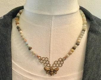 Boho Unique Amazonite Brass Bee Necklace