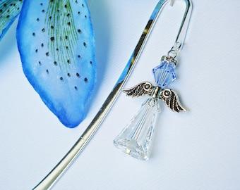 Crystal Angel Bookmark, Sapphire Blue Angel Book Marker