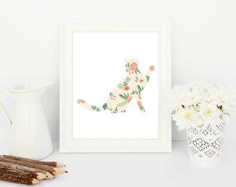 cat art, cat print, cat poster, kitten art, kitten print, kitten poster, printable artwork, cat silhouette, cat silhouette art, feline