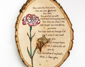 Mother's Day floral and Poem Wood Slice Wall Decor
