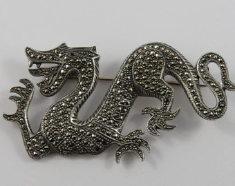 Sterling Silver Marcasite Dragon Brooch