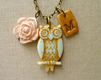 Owl Necklace - Whimsical Owl Necklace - Vintage Owl - Personalized Owl - Owl and Letter