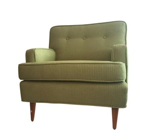 1950s Tufted Chartreuse Club Chair