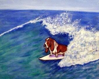 25% off Basset Hound, dog print on tile, basset hound tile, ceramic coaster, gift for surfer, moden dog art,