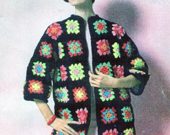 PDF Crochet pattern, Granny Squares Coat