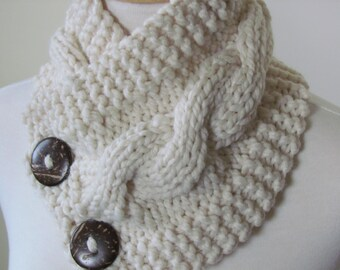 """Chunky Cable Neck Warmer Knit Thick Fisherman Scarf Wool Blend 6"""" x 25"""" - Cocconut Shell Buttons Ready to Ship - Gift for Her"""