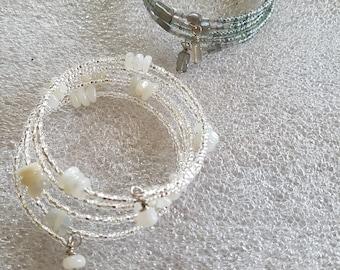 Gorgeous Moonstone or Labradorite Memory Wire Bracelets