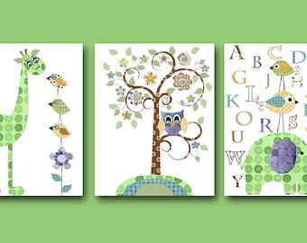 Giraffe Nursery Elephant Nursery Baby Boy Nursery decor Children Art Print Baby Nursery Print set of 3 alphabet nursery alphabet green
