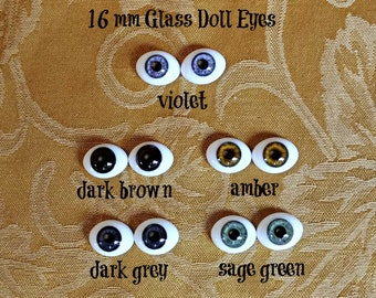16 mm Glass Doll Eyes fit Wellie Wishers and BJD Dolls  -- Limited Stock Available -- Free Shipping