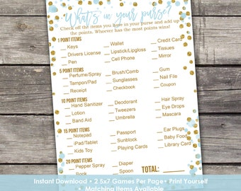 Blue and Gold Whats in Your Purse Baby Shower Game - Baby Shower Games - Activities - Baby-249