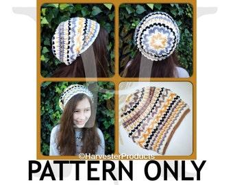 Arkenstone Slouch Crochet Textured Hat PATTERN