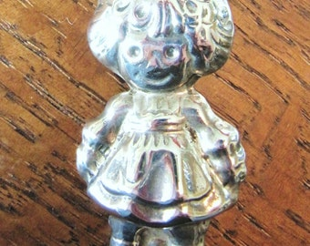Sterling Raggedy Ann girl child brooch pin pendant Mexican silver jewelry Mexico Taxco .925