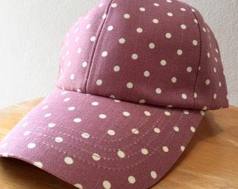 Purple Women Cap Purple Polka Dot Women Cap Petite Dot