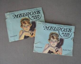 2 Packs Vintage 1920s Flapper Hair Nets, Real Human Hair by Melrose, unused
