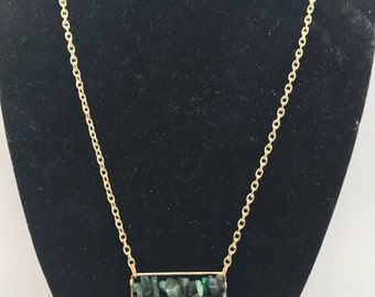 Green Agate Chip Necklace