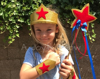 Girl superhero costume and dress up and play set for kids and adults, Wonder Woman, super heroes, super hero party, Wonder Woman party,