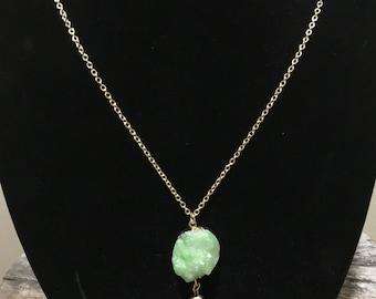 Mint Druzy Pendant Necklace