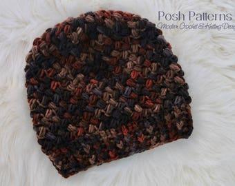 CROCHET PATTERN - Crochet Hat Pattern, Bean Stitch Crochet Pattern, Easy Crochet Pattern, Slouchy Hat (4 Sizes) - Instant PDF Download 452