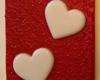 2 HEARTS NIGHT LIGHT Red & White Glass Valentine Nightlight H02