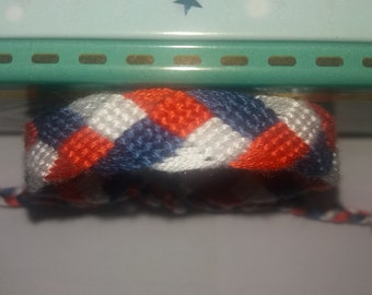 Braided Friendship Bracelet red white blue