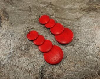 Red Earrings - Red Wooden Earrings - Red Wood Earrings - Dangle Earrings - Red Circle Earrings - Geometric Earrings- Long Earrings