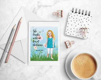 Proverbs She Laughs Without Fear Girl, Inspirational Note card with envelope, artistic greeting card, printed from whimsical drawing. NC143S