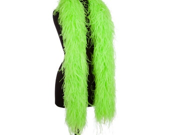 Hot Green 6 Ply Ultra Ostrich Feather Boas - Scarf - 6 Feet Long - Prom - Halloween Costumes - Birthday Gifts - Mother's Day - Presents