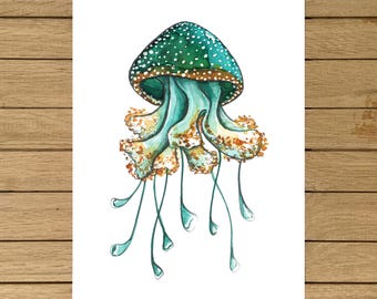 "Jellyfish, Watercolor Illustration, Blue Planet, Ocean, Giclée Print, Nursery Decor, Home Decor, Kids Room, A5, 8.5""x11"", A4, A3, 13""x19"""