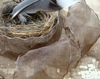 2 Yards - Brown Crinkle Ribbon with Ruffled Edges