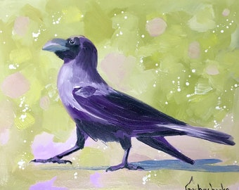 Crow, Original oil painting, crow lover art, Crow wall art, raven by Tetiana
