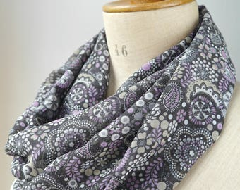 Infinity shawl, spring infinity scarf, womens scarf, purple flower scarf, summer scarf, gift for her, chiffon voile scarf, light scarf