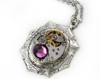 Steampunk Vintage Watch with Amethyst Crystal Necklace