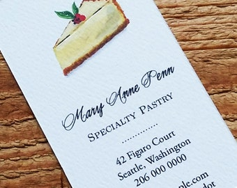 Personalized business card with Cheesecake Bakery Illustration - Set of 50