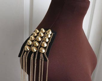 1 Pair of shoulder patch trims, black with gold studs and chains