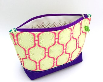 Marra Moro Pink Geometric Large Zipper Pouch, Recycled Canvas Cosmetic Bag, Travel Organizer, Eco Make Up Bag, Glass Bead Tassel, Handmade