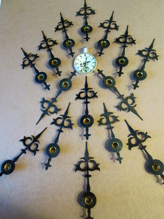 "15   3"" Vintage Trident/ Gothic Style Grey Steel Clock Hour Hands for your Clock Projects, Steampunk Art, Jewelry Making and etc..."