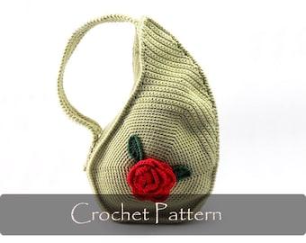 CROCHET PATTERN - Unique Teardrop Shape Bag Crochet Purse Pattern Unusual Crochet Handbag Pattern Flower Crochet Pattern PDF - P0013