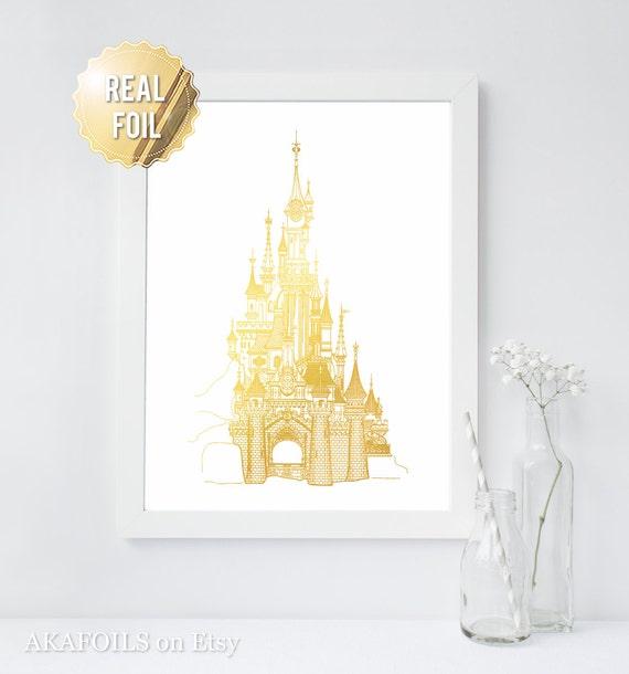 Disney Castle Cinderella\'s Castle Print Gold Foil Print