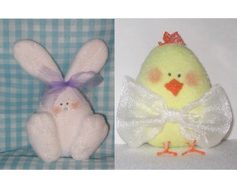 Bunny & Chick CRAFT PATTERN PDF e-pattern Stuffed sitters and magnets