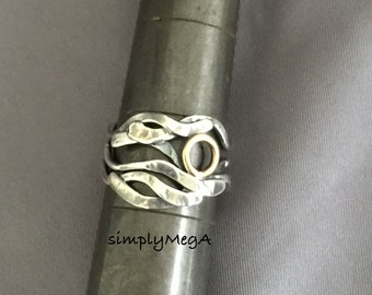 Sun & Waves silver and gold filled mixed metal ooak kelp ring size 7.5 and ready to ship