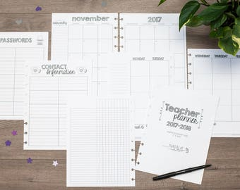 Teacher Planner Inserts for Disc Bound Planners, Happy Planner Inserts, Disc Bound Planners, Arc inserts, TUL inserts, Lesson Planner,